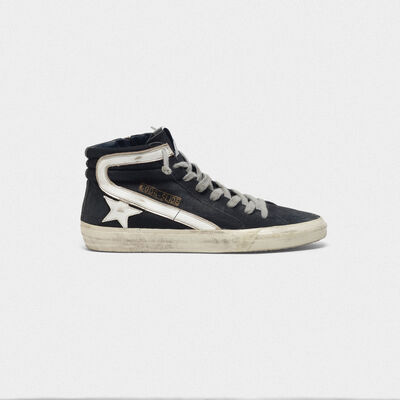 Slide sneakers in canvas with contrast star and eyelet threading