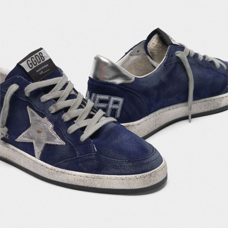 Golden Goose - Sneakers Ball Star blu scamosciate con stella argento in  image number null