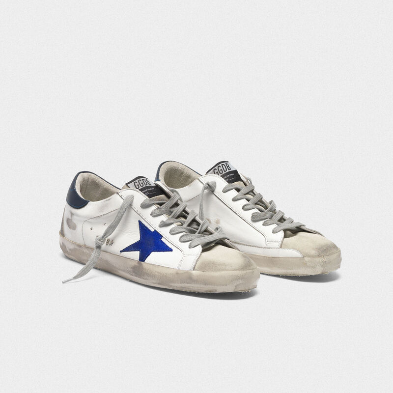 Golden Goose - Sneakers Superstar bianche con stella blu elettrico in  image number null