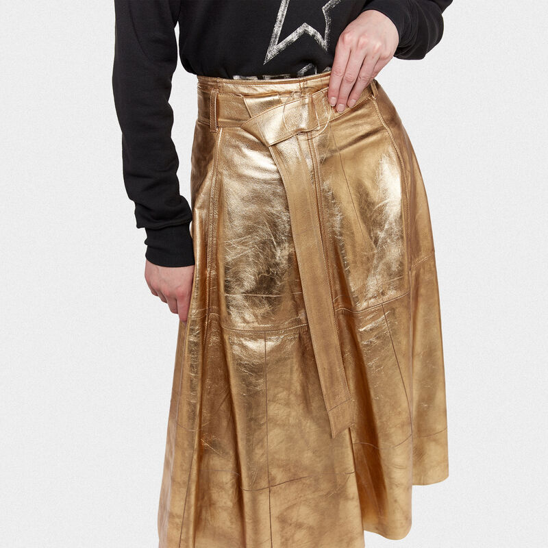 Golden Goose - Akemi gold leather skirt in  image number null