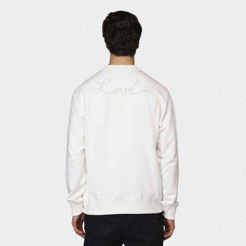 Golden Goose - White Robbie sweatshirt with Love embroidery in  image number null