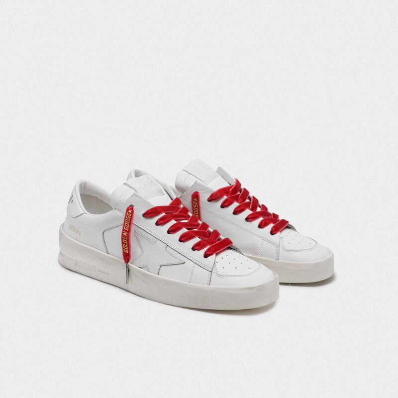Golden Goose - Women's red velvet laces with gold logo in  image number null