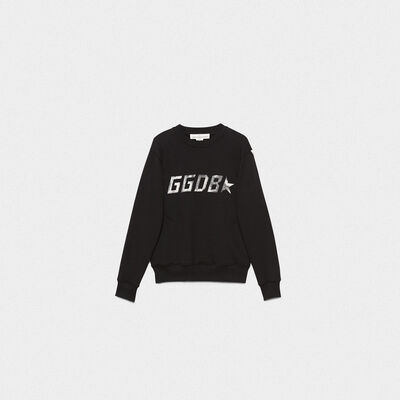 Black Aiako sweatshirt in pure cotton with logo print