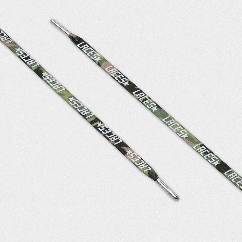 Golden Goose - Lacci donna mimetici verdi con stampa laces bianca in  image number null
