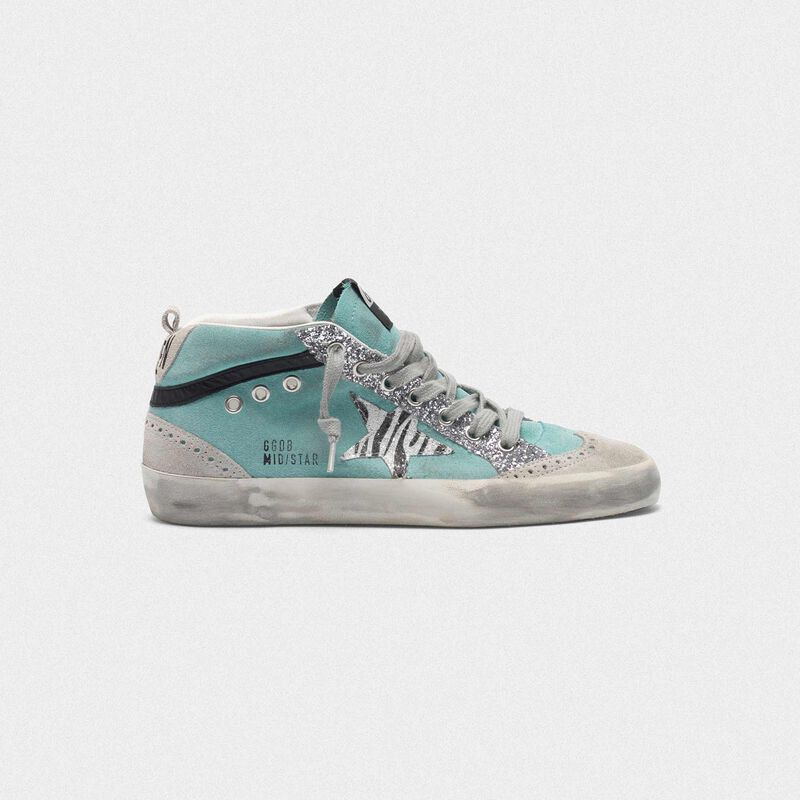 Golden Goose - Suede Mid-Star sneakers with glitter and zebra-print star in  image number null