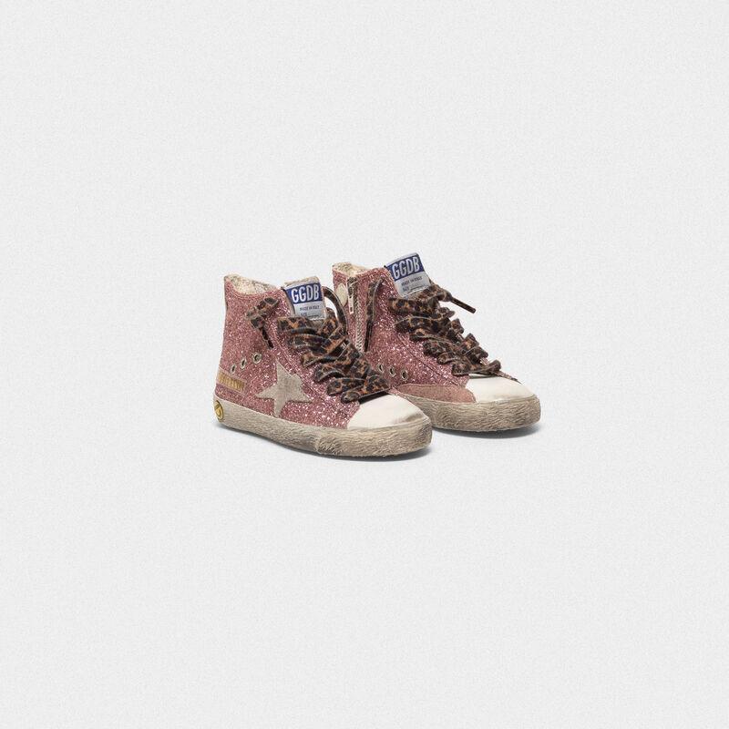 Golden Goose - Sneakers Francy in pelle argentata e glitter in  image number null
