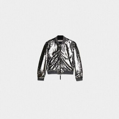 Scarlett bomber jacket with reversible sequins