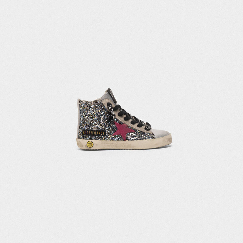 Golden Goose - Francy sneakers in silver leather with glitter star in  image number null
