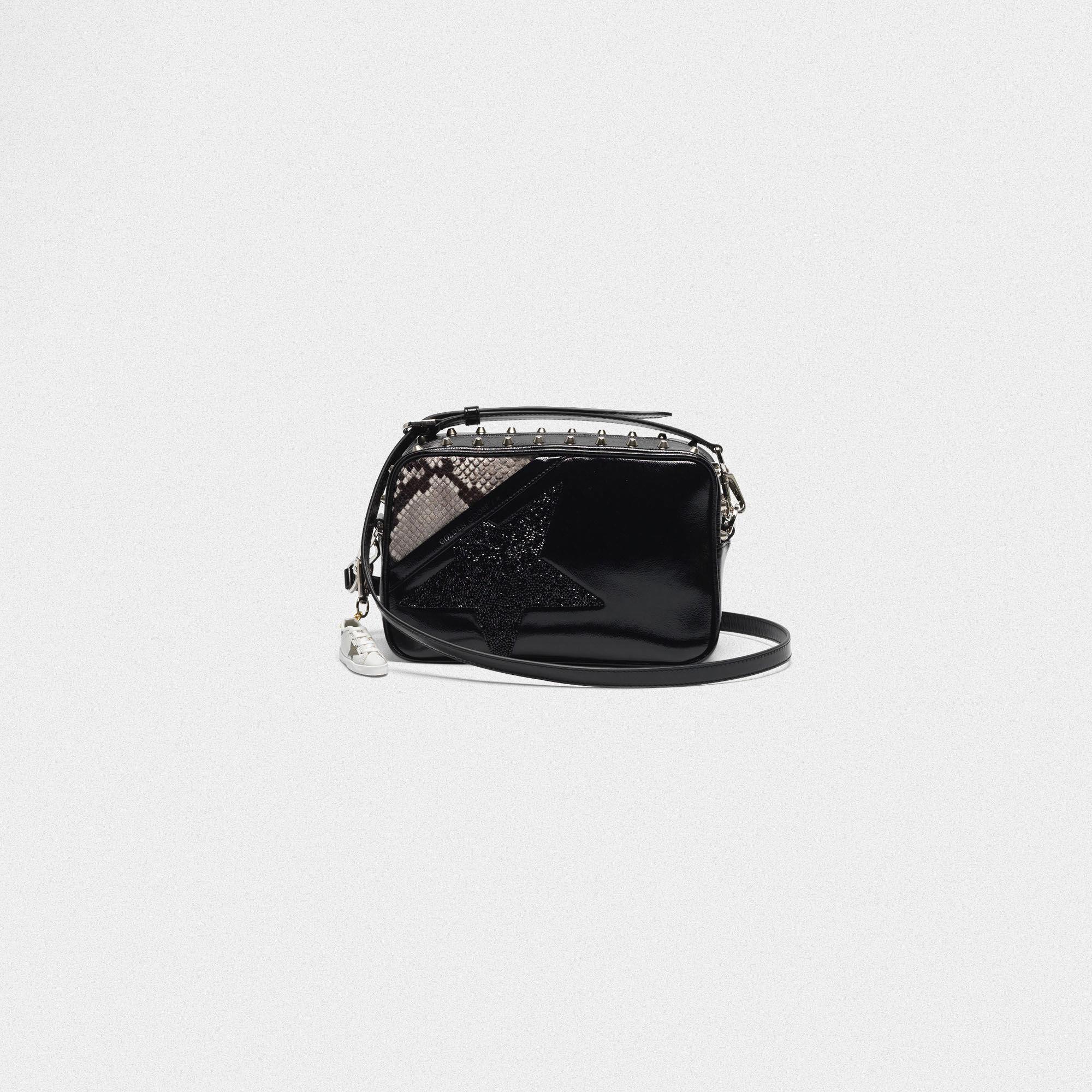 Tasche Star Bag mit Strassnieten und Pythonprint