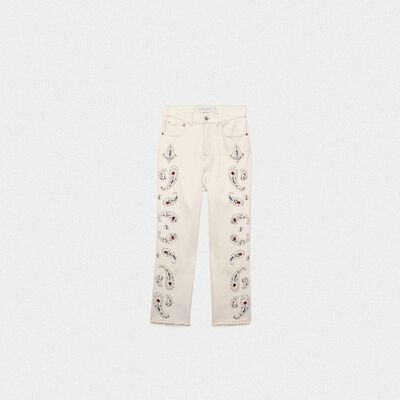 Texas denim jeans with rhinestone and stud-embroidered decorations