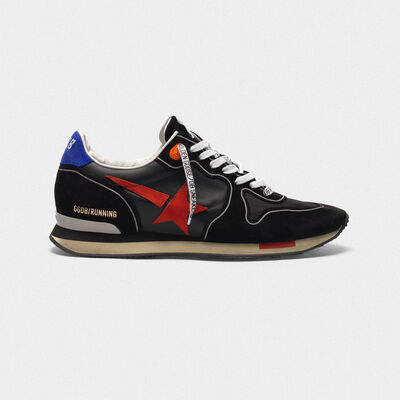 Black Running sneakers with red star
