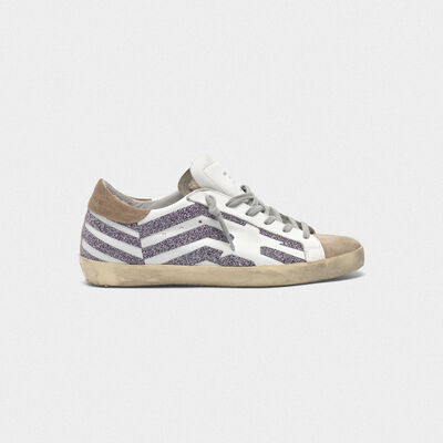 Sneakers Superstar con stampa flag in cristalli