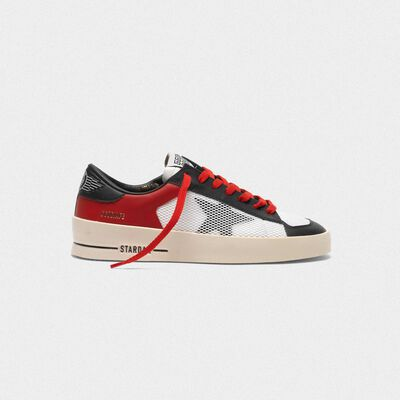Stardan sneakers in red and white leather with mesh inserts