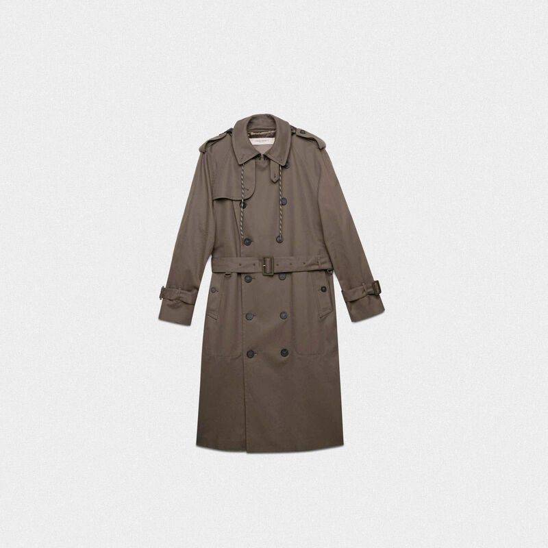 Golden Goose - Military green Samuel trench coat with nylon inserts in  image number null