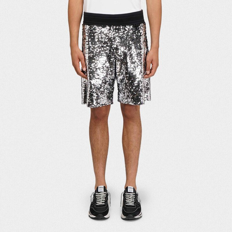 Golden Goose - Shorts Cameron con paillettes argento e nere in  image number null
