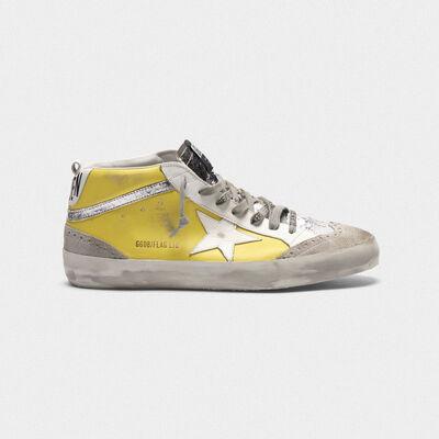 Sneakers Mid-Star in pelle con dettagli cracklé