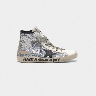 Francy sneakers with silver sequins and handwritten lettering