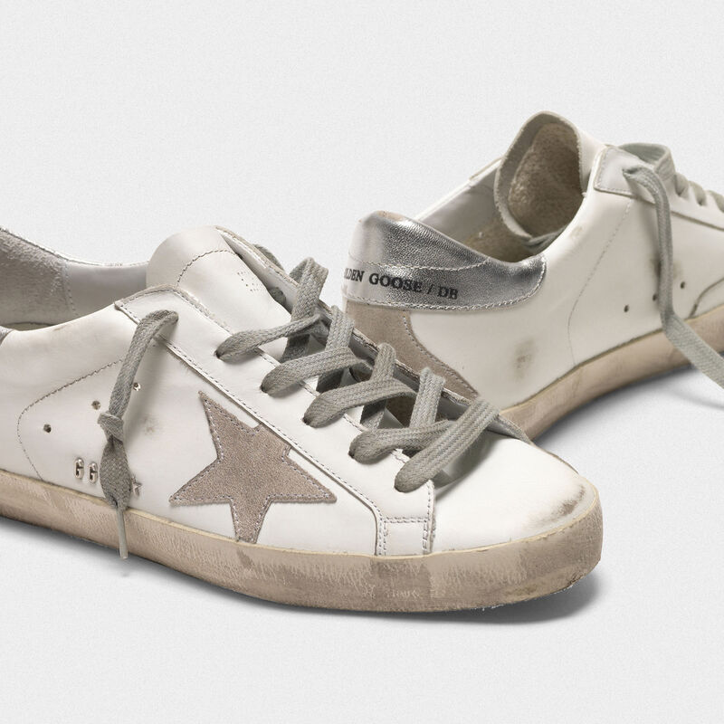 Golden Goose - Superstar sneakers in leather with star and heel tab in suede in  image number null