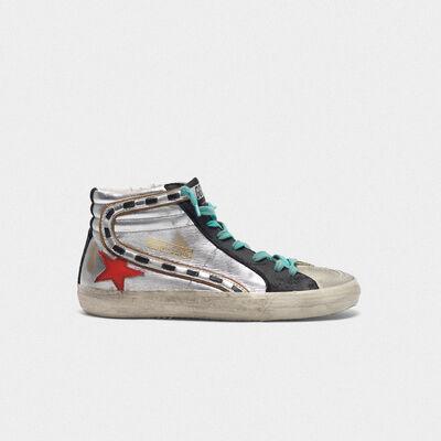 Sneakers Slide in pelle laminata argentata e stella rossa