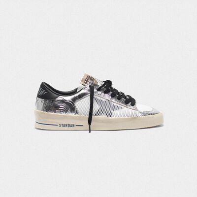 Sneakers Stardan argentate laminate con stampe in rilievo floreali