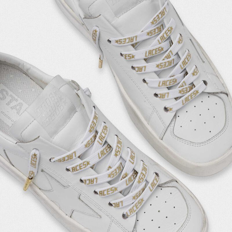 Golden Goose - Women's white laces with gold laces print in  image number null