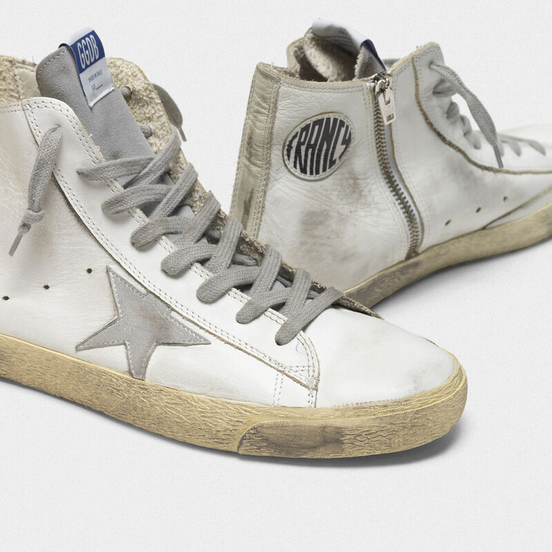Golden Goose - Sneakers Francy in pelle con stella in camoscio argentato in  image number null