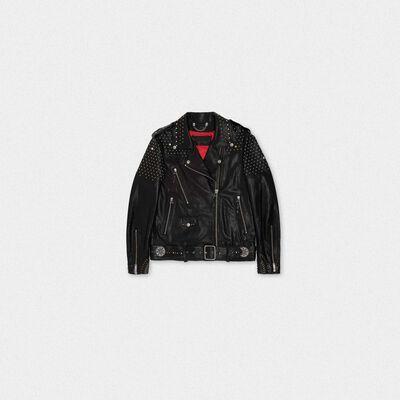 Dakota biker jacket with all-over studs