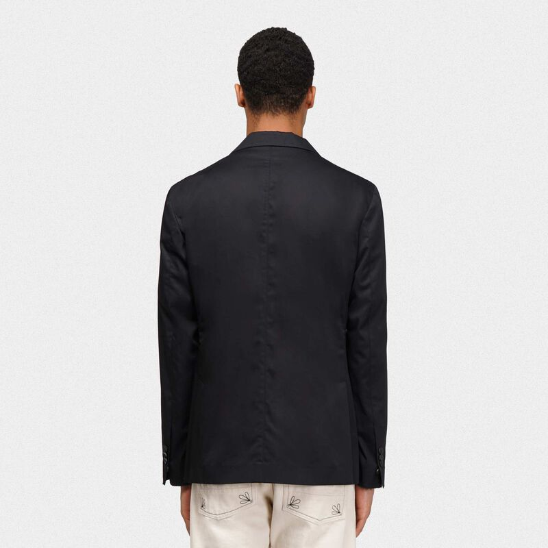 Golden Goose - Single-breasted black Golden jacket in poplin in  image number null