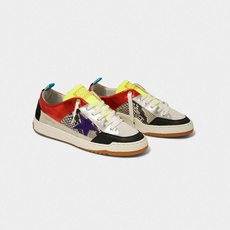 Golden Goose - Red Yeah! sneakers with purple star and snakeskin-print insert in  image number null