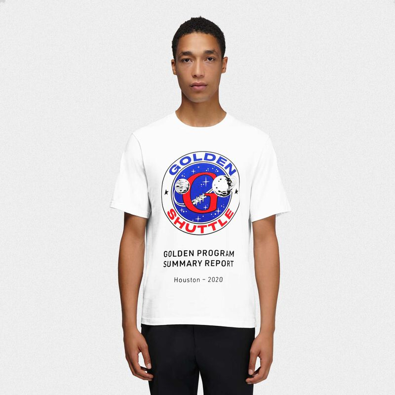 Golden Goose - T-shirt Golden bianca stampa Golden Shuttle in  image number null
