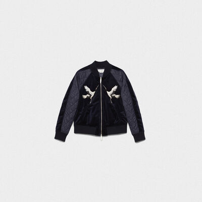 Maki bomber jacket in velvet with crane patches