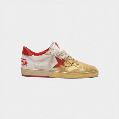 Sneakers Ball Star in pelle con verniciatura dorata sul davanti