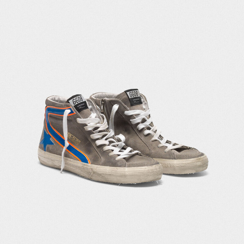 Golden Goose - Grey Slide sneakers in suede with electric blue details in  image number null