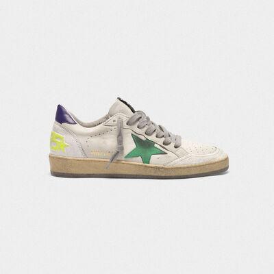 Sneakers Ball Star in pelle con stella color menta talloncino viola