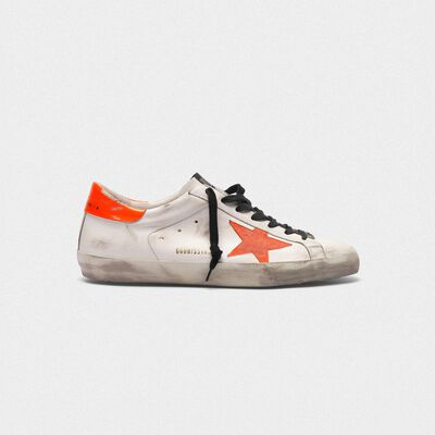 Superstar sneakers with star and fluorescent orange heel tab