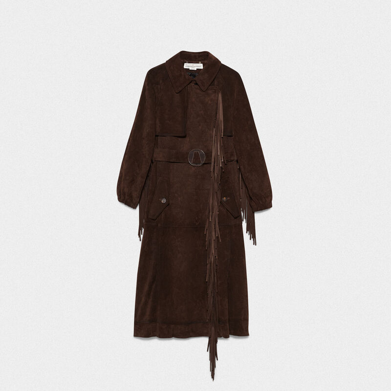 Golden Goose - Trench Sumire in pelle bovina con frange in  image number null