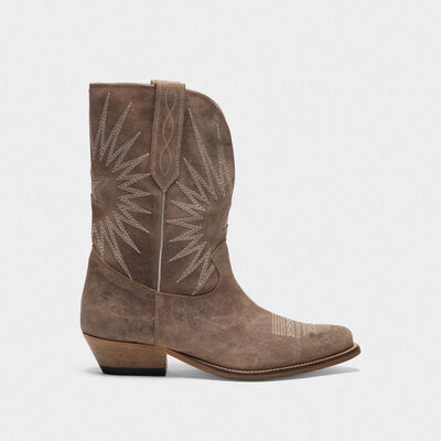 Low Wish Star boots in suede with cowboy-style decoration
