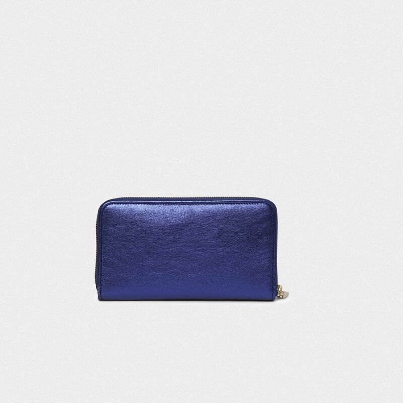 Golden Goose - Portafoglio Star Wallet large blu metallizzato   in  image number null
