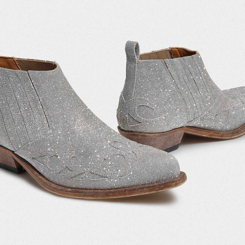 Golden Goose - Silver Santiago Low ankle boots with glitter in  image number null