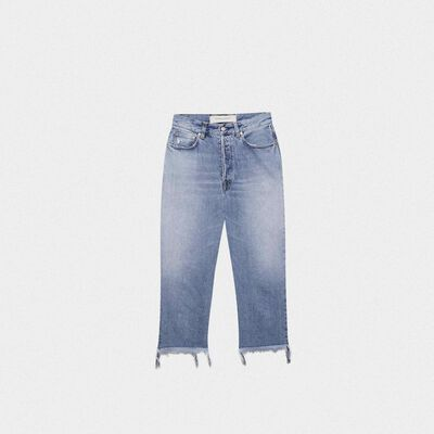 Cropped Texas jeans with raw edges