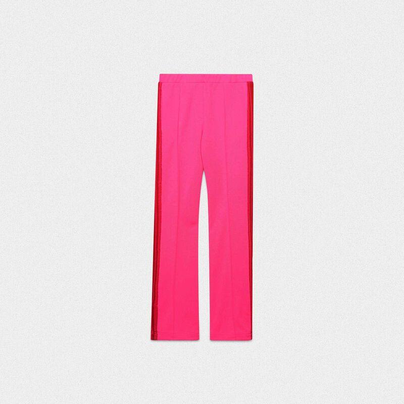 Golden Goose - Pantaloni Kelly rosa in tessuto tecnico e vita in lurex in  image number null