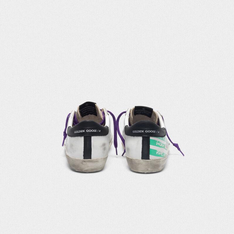 Golden Goose - Sneakers Superstar con stampa flag verde acqua in  image number null