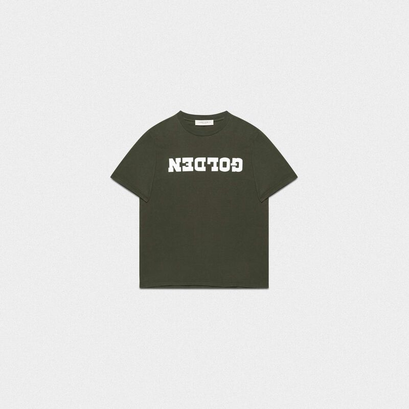 Golden Goose - T-shirt Golden verde con stampa a contrasto in  image number null