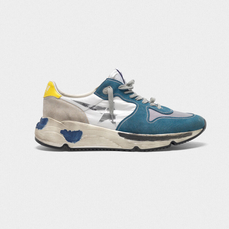 Golden Goose - Sneakers Running Sole in pelle bluette con stella argentata in  image number null