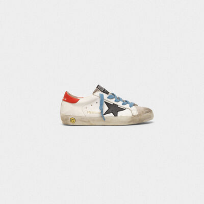 Superstar sneakers with red heel tab and sky blue laces