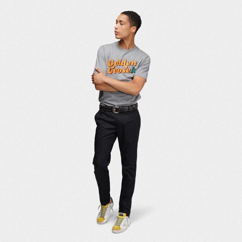Golden Goose - T-shirt Golden grigio mélange con stampa vintage in  image number null