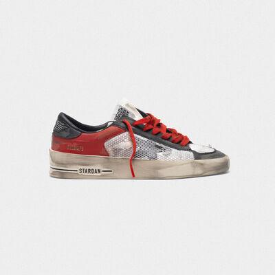 Distressed black and red Stardan LTD sneakers