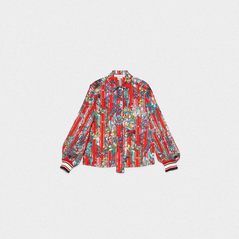 Golden Goose - Camicia Isako in tessuto a righe con fiori giapponesi in  image number null