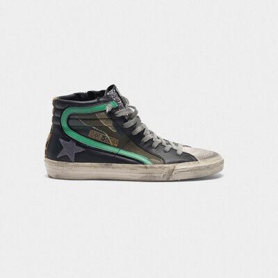 Sneakers Slide camouflage con inserto glitter