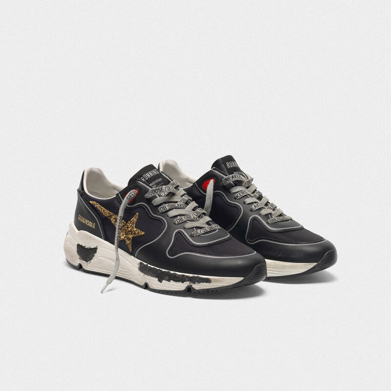 Golden Goose - Black Running Sole sneakers with glittery gold star in  image number null